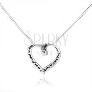 Náhrdelník ze stříbra 925, zatočený obrys srdce s patinovaným nápisem