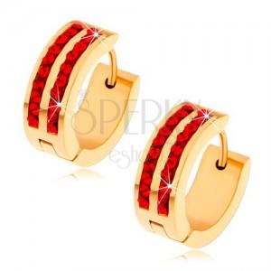 Ocelové náušnice zlaté barvy, dvě svislé linie rubínů červených zirkonů