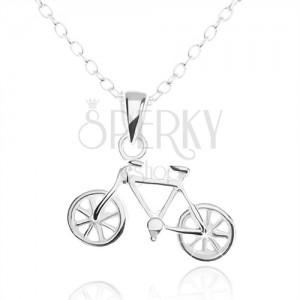 Stříbrný náhrdelník 925, detailně vyřezávaný přívěsek ve tvaru bicyklu