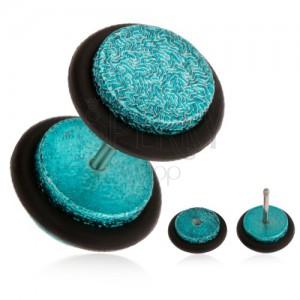 Tyrkysový fake plug do ucha z akrylu, pískovaný povrch, gumičky