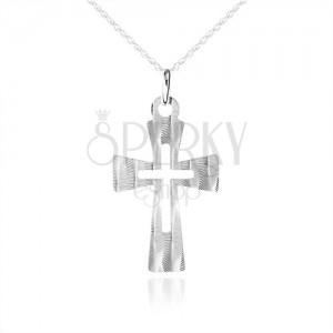 Stříbrný náhrdelník 925, plochý kříž s ozdobnými šikmými zářezy