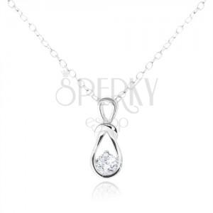 Stříbrný náhrdelník 925, přívěsek ve tvaru smyčky s kulatým čirým zirkonem