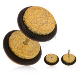 Falešný plug do ucha z akrylu, třpytivý povrch zlaté barvy, gumičky