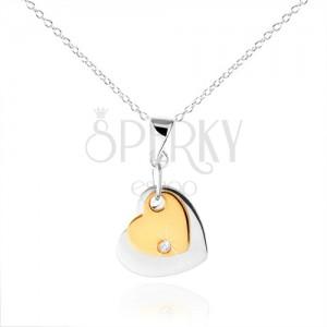 Stříbrný náhrdelník 925, dvě srdíčka stříbrné a zlaté barvy, zirkon