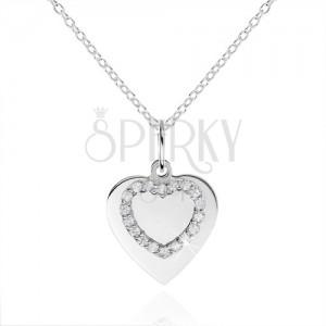 Stříbrný náhrdelník 925, ploché srdíčko a kontura srdce se zirkony