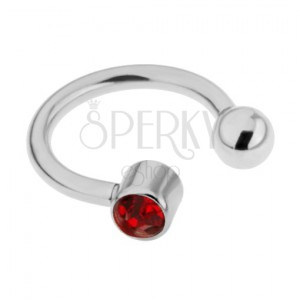Piercing z oceli do obočí - podkova stříbrné barvy, červený zirkon