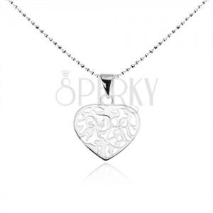 Náhrdelník ze stříbra 925, kuličkový řetízek, ploché srdce s výřezy