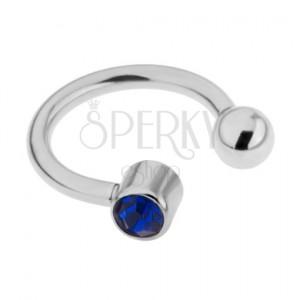 Ocelový piercing do obočí stříbrné barvy, tmavě modrý kamínek