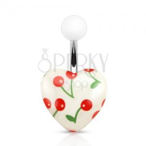 Ocelový piercing do pupíku, bílá akrylová kulička a srdce s třešněmi
