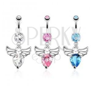 Piercing do bříška z oceli - anděl s ozdobnými výřezy, barevné zirkony