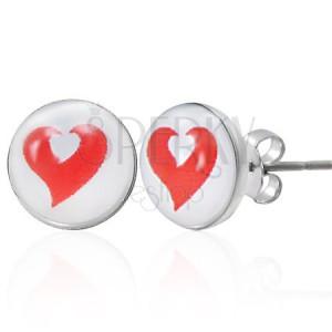 Ocelové náušnice červené a bílé srdce