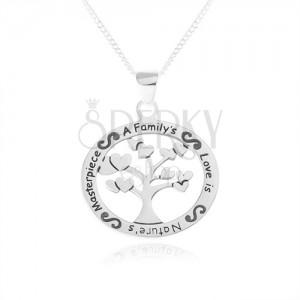 Náhrdelník ze stříbra 925, oválný přívěsek - strom se srdíčky, nápis