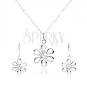 Stříbrná 925 sada - náhrdelník a visací náušnice, květ se zirkonem