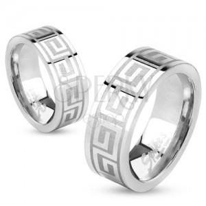 Prsten z oceli stříbrné barvy, lesklý povrch, řecký klíč, 6 mm