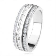 Třpytivý prsten ze stříbra 925, vyvýšený střední pás, čiré zirkony