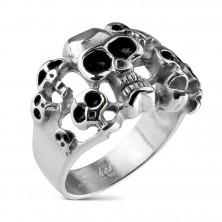 Prsten stříbrné barvy z oceli 316L - deset lebek s černou glazurou