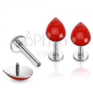 Piercing do brady z oceli, stříbrná barva, červená kapka