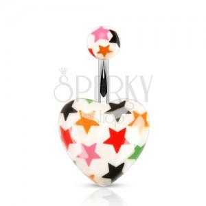 Piercing do bříška z oceli, kulička a srdce - bílý povrch, barevné hvězdy