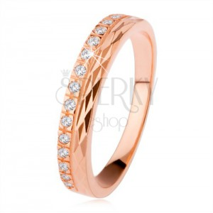 Stříbrný prsten 925 měděné barvy, diamantový řez, zirkonová linie
