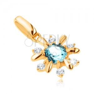 Zlatý přívěsek 375 - kvítek zdobený čirými kamínky a modrým topasem