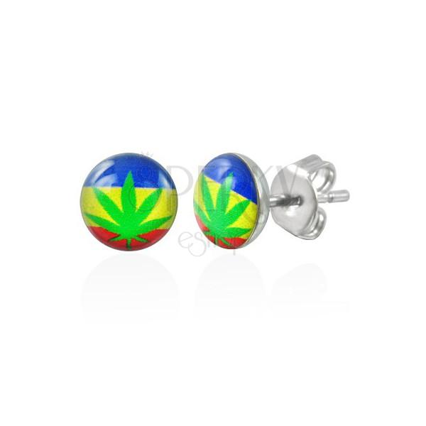 Náušnice z oceli marihuana se zástavou