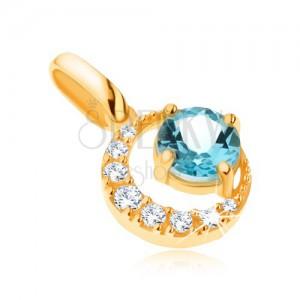 Přívěsek ve žlutém 9K zlatě, zirkonový srpek měsíce, kulatý modrý topas