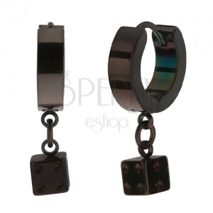 Kloubové ocelové náušnice, černá barva, lesklý povrch, hrací kostka