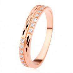 Prsten ze stříbra 925, měděná barva, diamantový řez, čiré zirkony