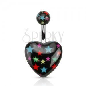 Piercing do břicha z oceli, černá kulička a srdce s barevnými hvězdami
