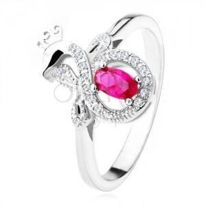 Stříbrný prsten 925 s tmavě růžovým oválným kamenem, zirkonový páv