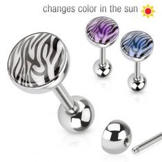 Ocelový piercing do jazyka, tygrovaný potisk měnící barvu na slunci