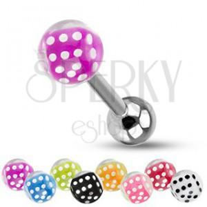 Barbell do jazyka z oceli, stříbrná barva, kuličky, barevné hrací kostky