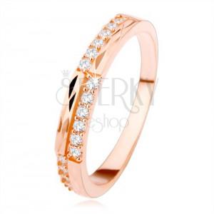 Stříbrný prsten 925 měděné barvy, čiré zirkony a diamantový řez