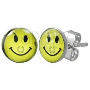 Ocelové náušnice - žlutý smajlík s podkovou, puzetky