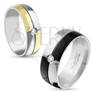 Ocelový prsten stříbrné a černé barvy, zirkon uprostřed, 8 mm