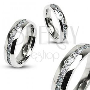 Prsten z chirurgické oceli stříbrné barvy, pás čirých zirkonů