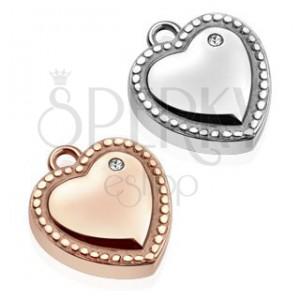 Ocelový přívěsek - srdce, ozdobně gravírované kuličky, čirý zirkon
