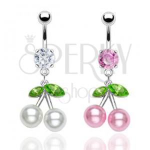 Ocelový piercing do pupíku, barevné třešně, perleťové kuličky, zirkony