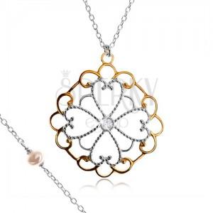 Náhrdelník ze stříbra 925, květ z obrysů srdcí, ornamenty zlaté barvy, zirkon