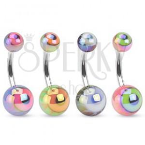 Piercing do bříška z oceli, barevné kuličky s metalickým leskem, oko