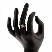 Prsten ze stříbra 925, měděný odstín, vícebarevný zirkonový motýl