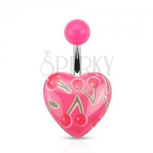 Ocelový piercing do pupíku, růžová kulička a srdce s potiskem třešní