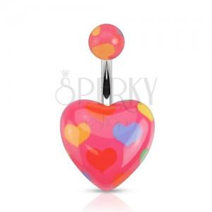 Piercing do bříška z oceli 316L, tmavě růžové srdce a kulička, srdíčkový potisk