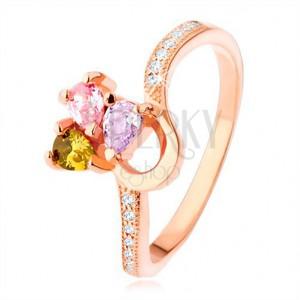 Stříbrný prsten 925, měděná barva, trojbarevný zirkonový trojlístek
