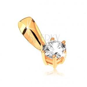 Zlatý přívěsek 375 - kulatý zirkon v ozdobném kotlíku s tyčinkami