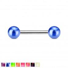 Ocelový piercing do jazyka, dvě barevné kuličky s metalickým leskem