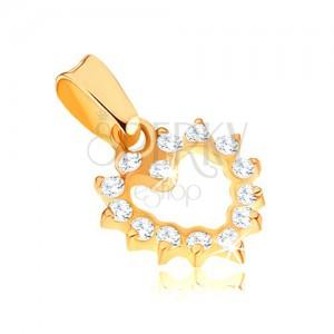 Blyštivý zlatý přívěsek 375 - pravidelná kontura zirkonového srdce