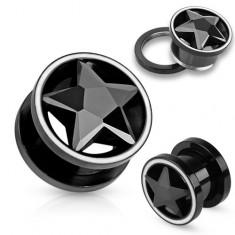 Tunel plug z oceli černé barvy, zirkonová broušená hvězda, bílý lem