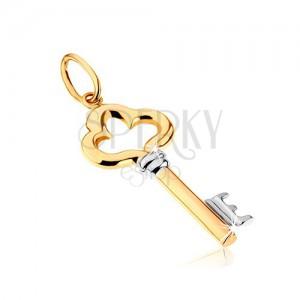 Dvoubarevný přívěsek z 9K zlata - lesklý ozdobně vyřezávaný klíč