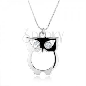 Stříbrný 925 náhrdelník, řetízek a moudrá sova se zirkonovými očky